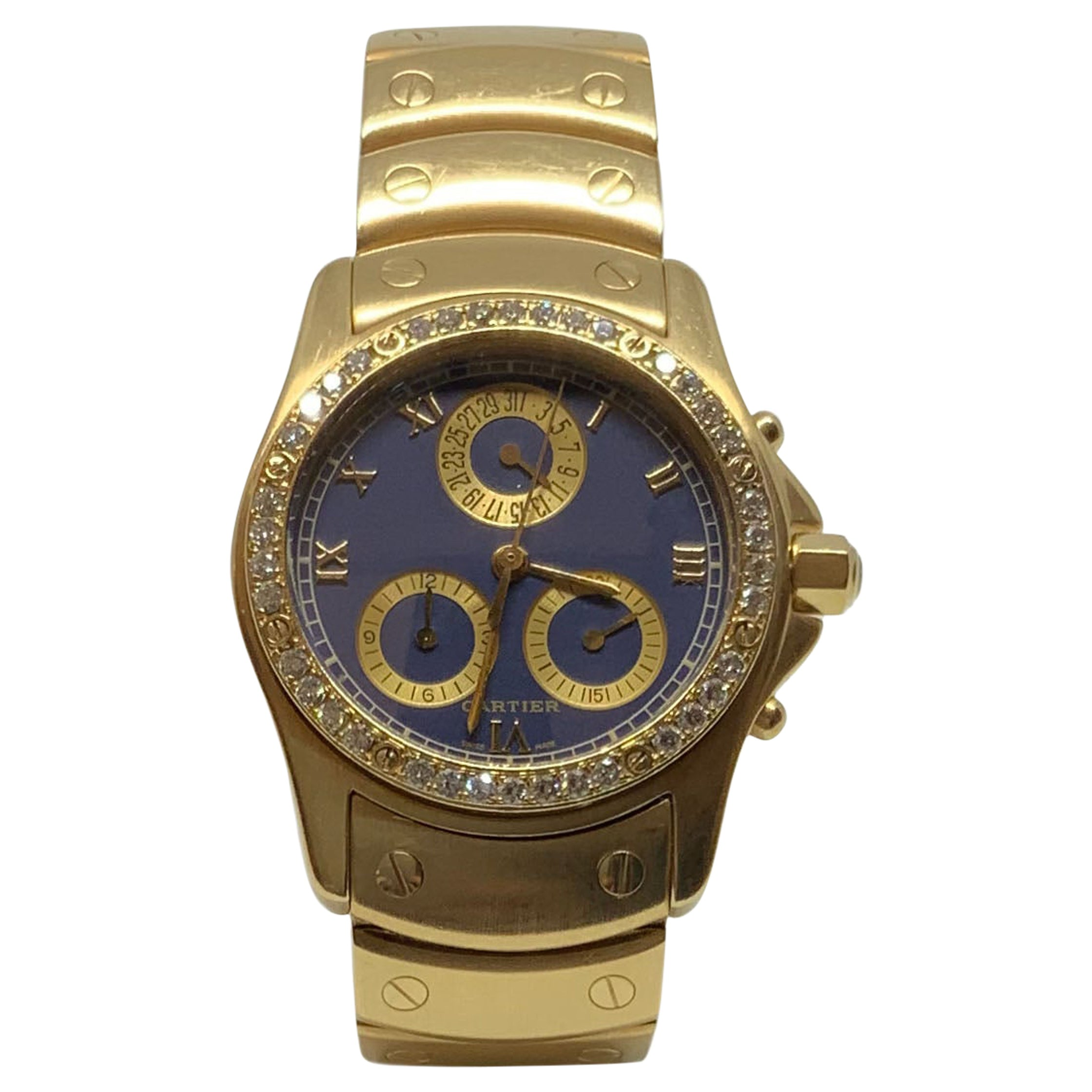 Cartier 18 Karat Yellow Gold Santos Ronde MM Chrono Watch