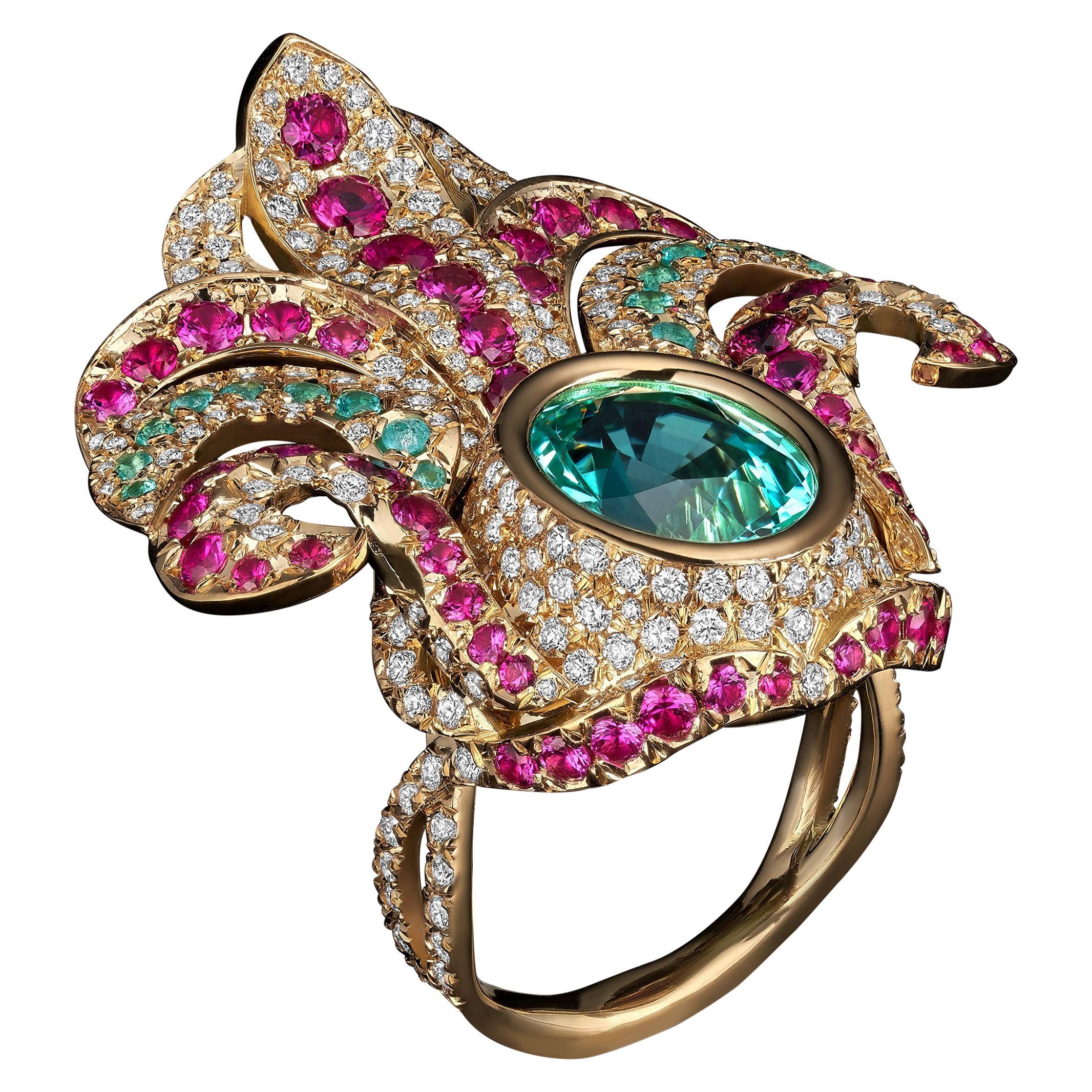 18K Gold GIA Certified 8.2 Carat Paraiba Tourmaline Rubies Diamond Cocktail Ring