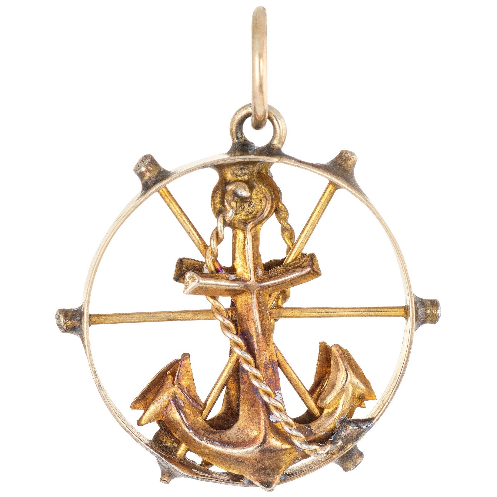Anchor Charm Pendant 14 Karat Yellow Gold Nautical Jewelry Small Round Wheel
