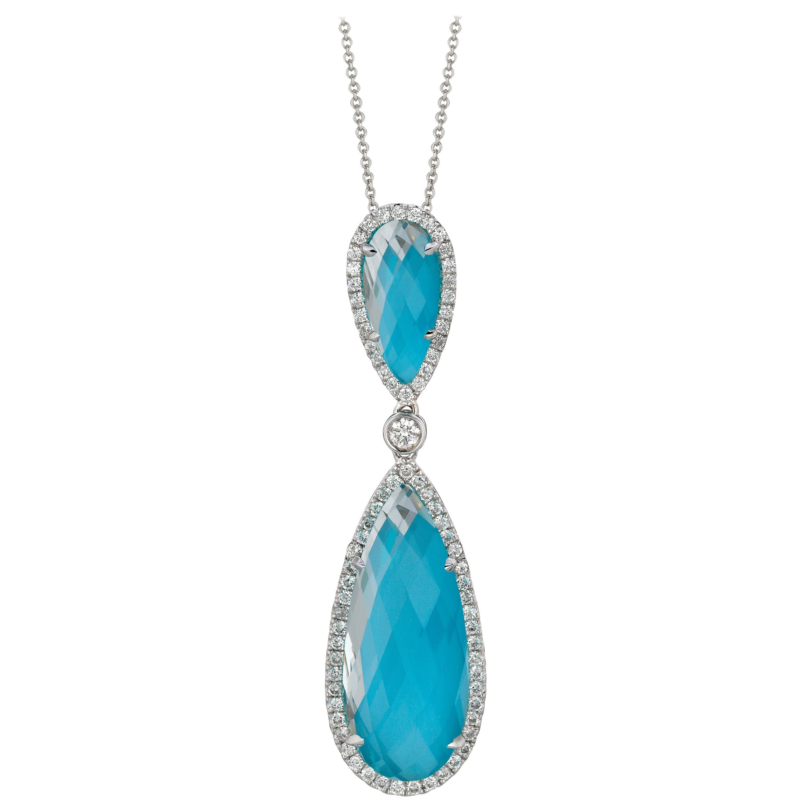 Doves 18K White Gold Pear Shape Necklace with White Topaz, Turquoise & Diamonds