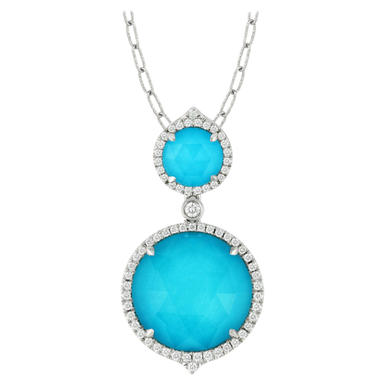 Doves 18K White Gold Round Doublet Necklace w/ White Topaz, Turquoise & Diamonds
