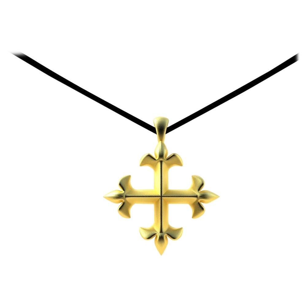 18 Karat Yellow Gold St. Mary's Fleur-de-Lis Pendant Necklace