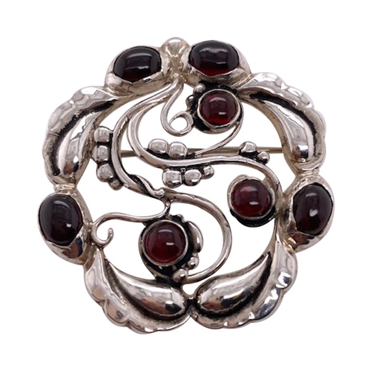 Large Georg Jensen Sterling and Garnet Brooch