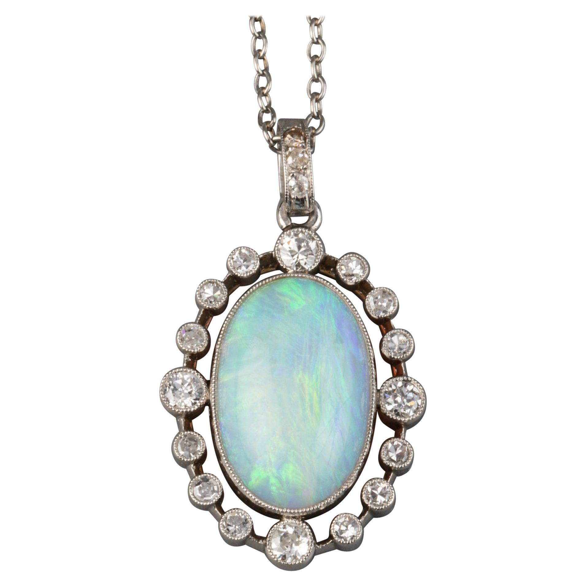 Platinum Diamonds and Opale Belle Époque Pendant Necklace