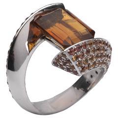 Barbara Nanning Citrine and Orange Sapphire, Gold Ring