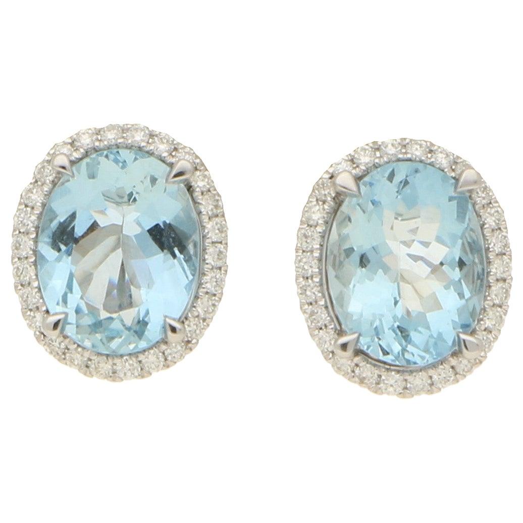 Aquamarine and Diamond Halo Cluster Stud Earrings Set in 18 Karat White Gold