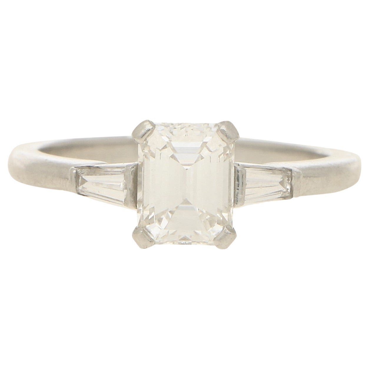 Certified Art Deco Style Emerald Cut Three-Stone Engagement Ring in Platinum