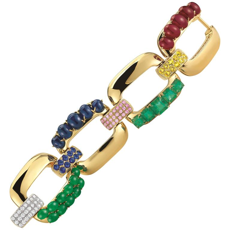 Seaman Schepps Emerald Ruby Sapphire Diamond Gold Link Bracelet For Sale