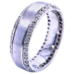 0.62 Carat Pave Set Eternity Style Diamond 18 Karat Gents Ring