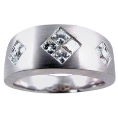 0.80 Carat Invisible/Channel Set Diamond 18 Karat Gents Ring