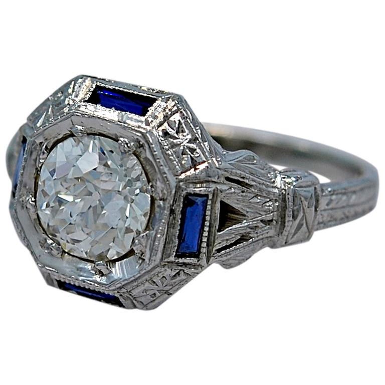 Art Deco 1.07 Carat Diamond Sapphire Gold Engagement Ring
