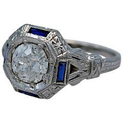 Art Deco 1.07 Carat Diamond Sapphire Gold Engagement Ring