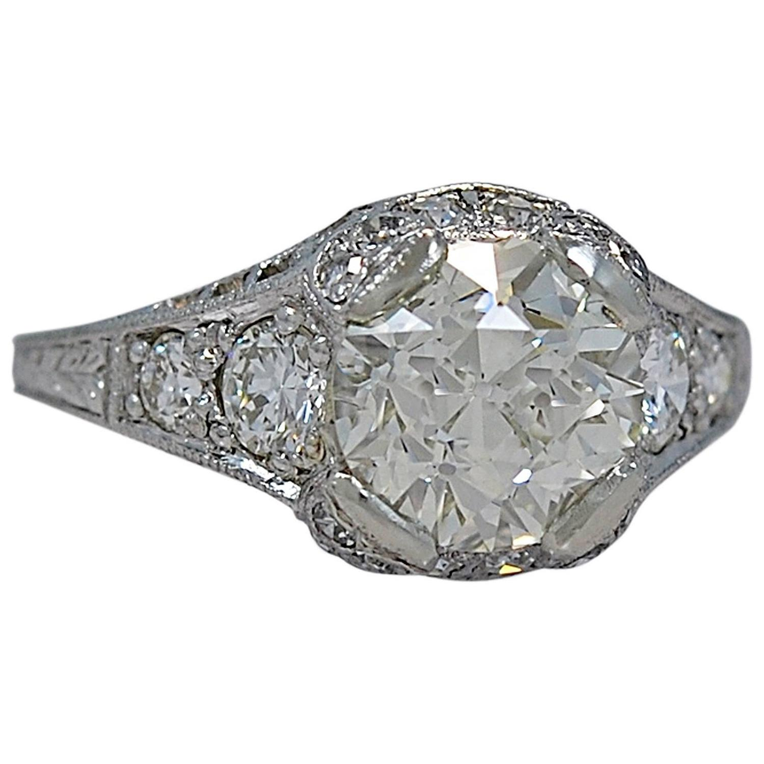 Whitehouse Brothers Art Deco 2 00 Carat Diamond Platinum Engagement Ring at 1
