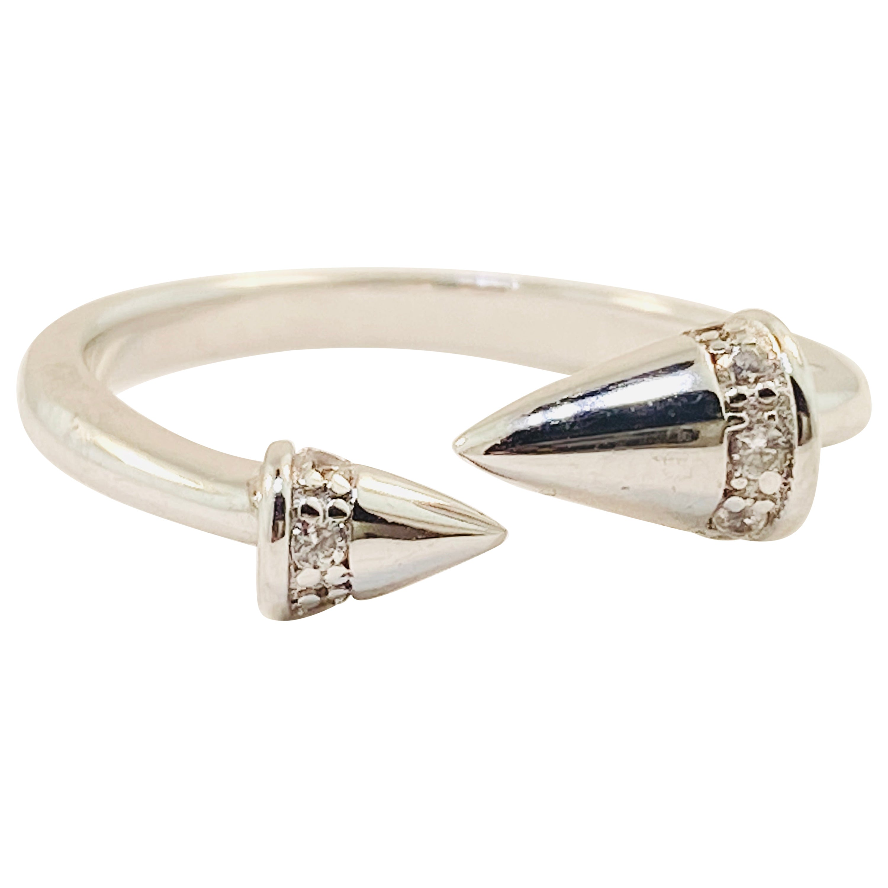 Sterling Silver Diamond Ring, Silver 925 Cone Statement Ring Adjustable Ring