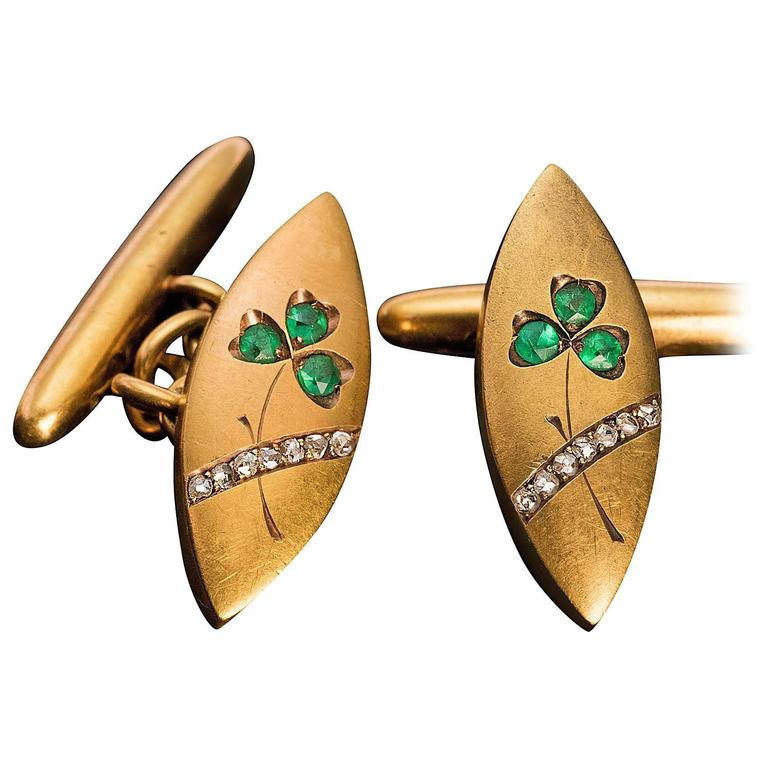 Art Nouveau Emerald Diamond Gold Cufflinks
