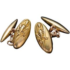 French Antique Art Nouveau Gold Cufflinks