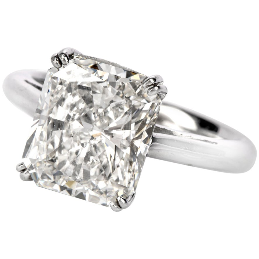 5.03 Carat G-VVS1 Radiant Cut GIA Certified Diamond Platinum Engagement Ring