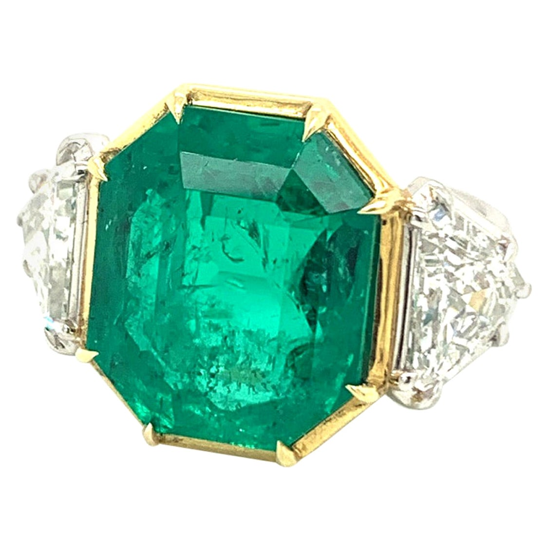 Jack Weir & Sons 10 Carat AGL Certified Colombian Emerald Diamond Platinum Ring