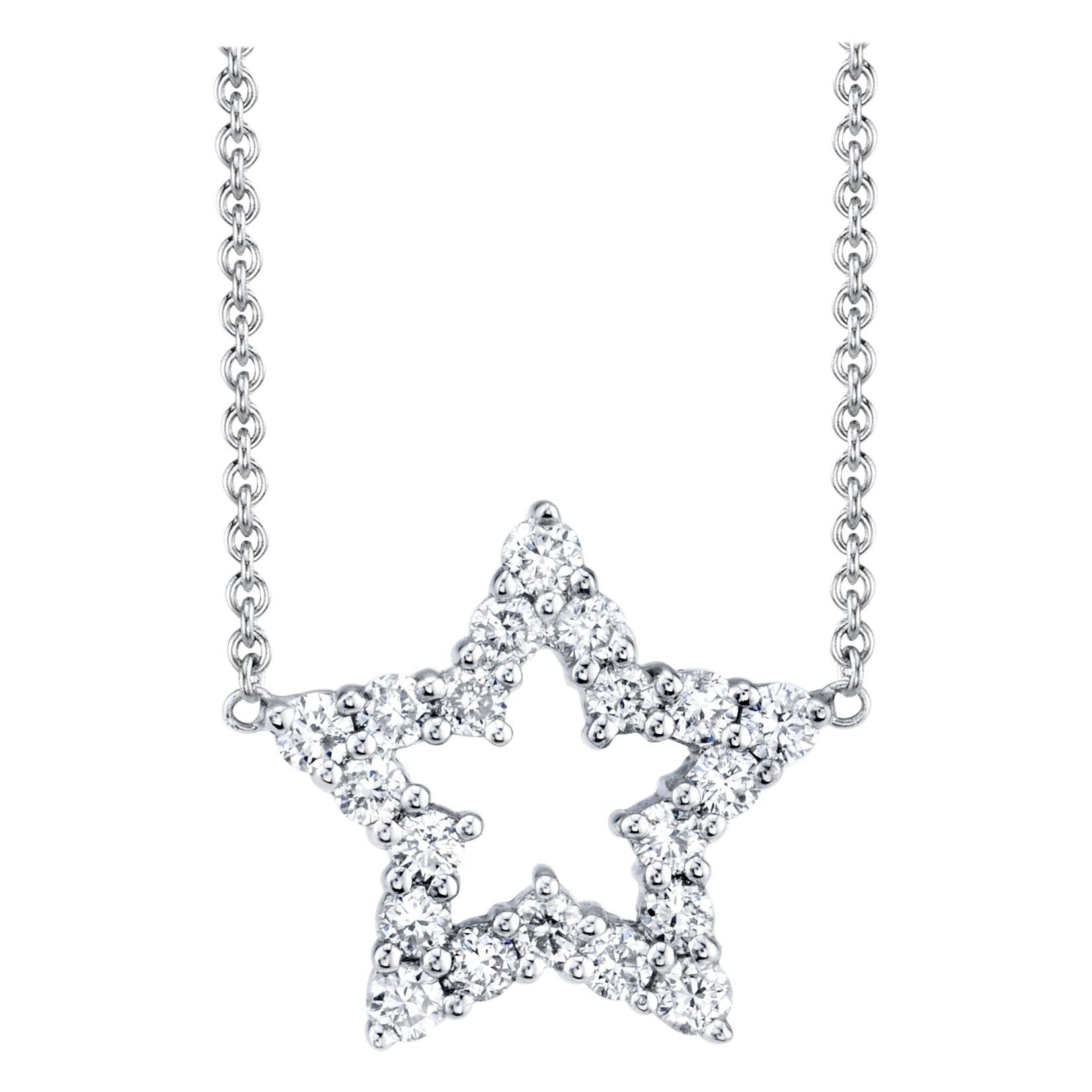 """.33 ct. t.w. Diamond and 18k White Gold Open """"Star"""" Pendant Necklace with Chain"""