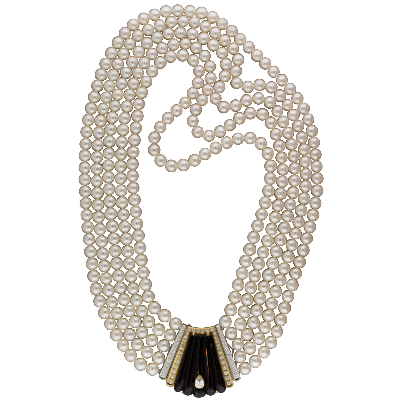 Multi-Strand Pearl Diamond Onyx Gold-Platinum Necklace