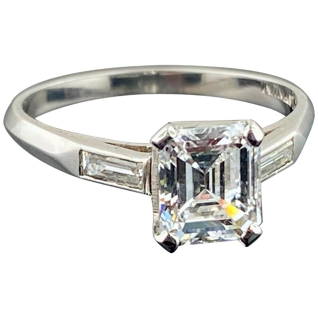 Platinum GIA Certified 1.36 Carat Emerald Cut Diamond Ring