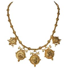 Etruscan Style Coin Necklace and Earrings by Julius Cohen