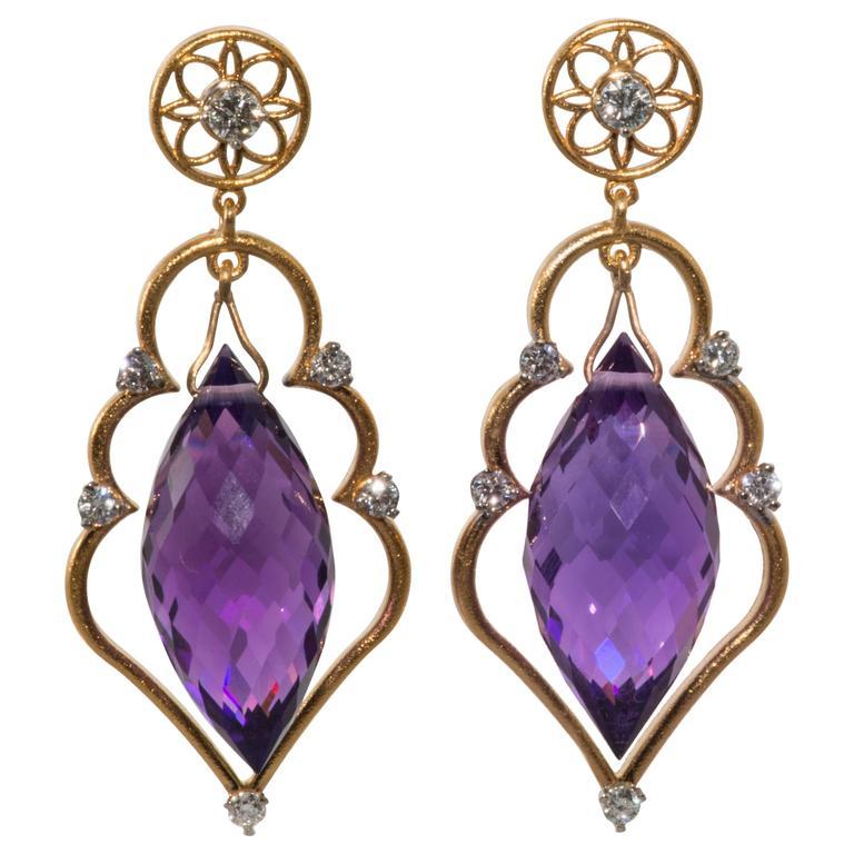 Amethyst Diamond Gold Drop Earrings For Sale