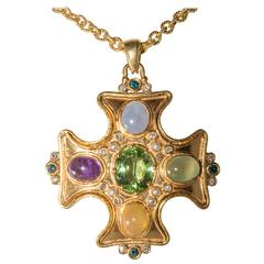 Maltese Cross Pendant with Semi Precious Stones