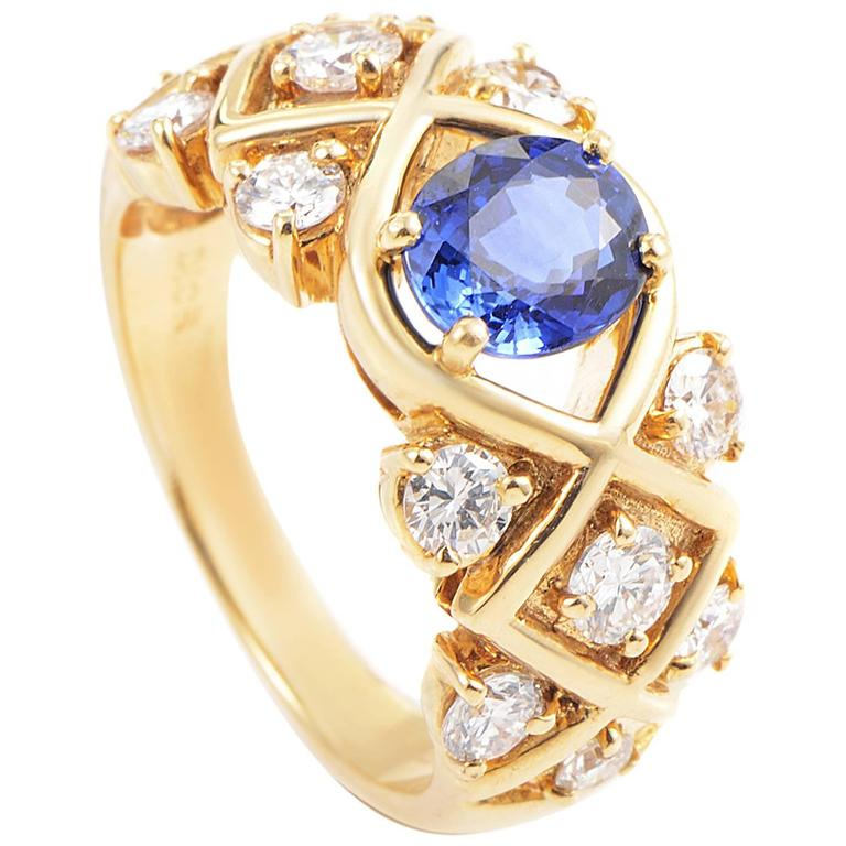 Dior Sapphire Diamond Gold Ring 1