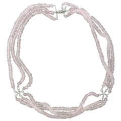 Cathy Waterman Daisy Rose Quartz Platinum Three Strand Choker Necklace
