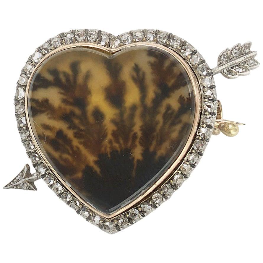 Fabergé Moss Agate and Diamond Brooch, circa 1880
