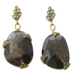 Cathy Waterman Brown Sapphire Diamond Gold Drop Earrings