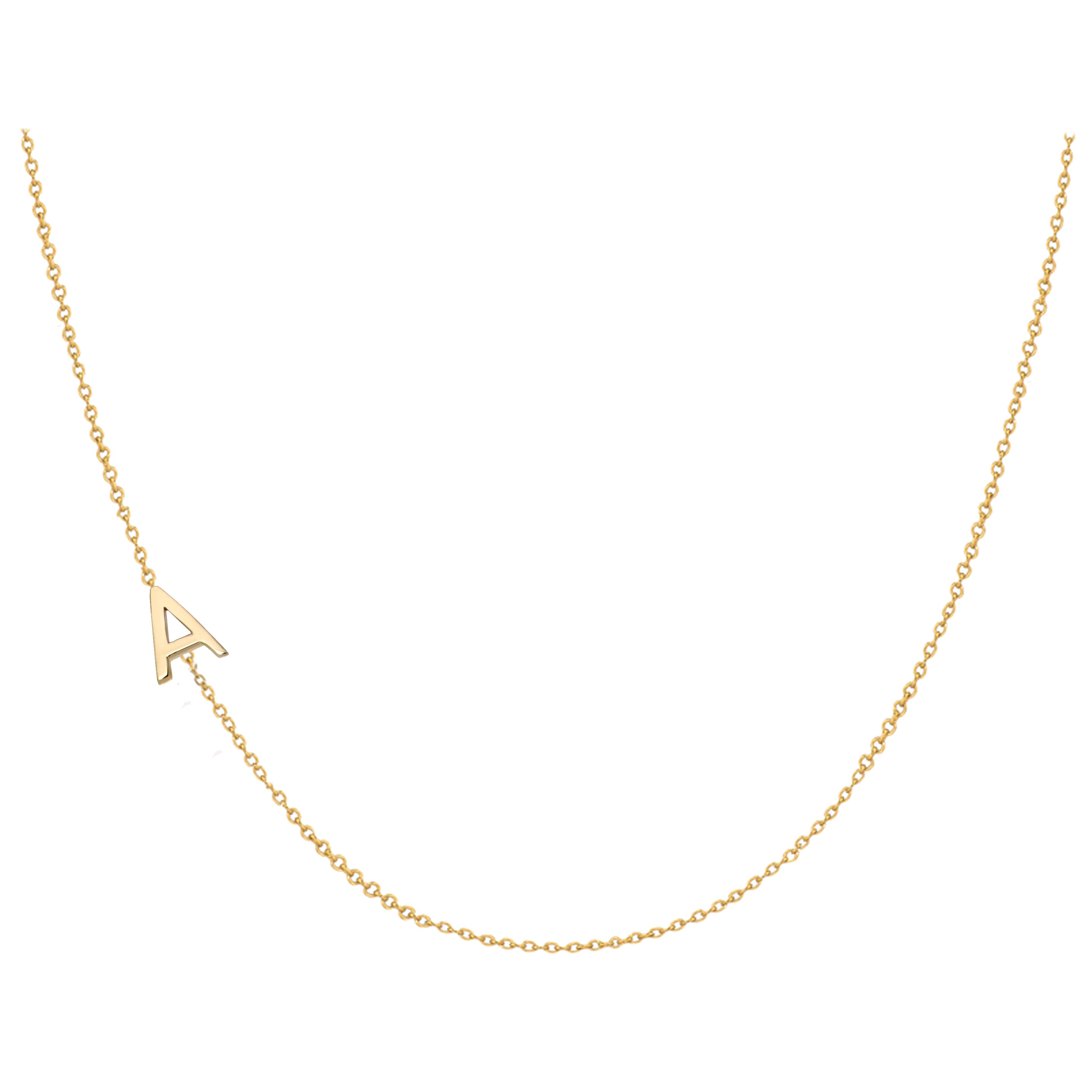 14 Karat Gold Asymmetrical Initial Necklace, A