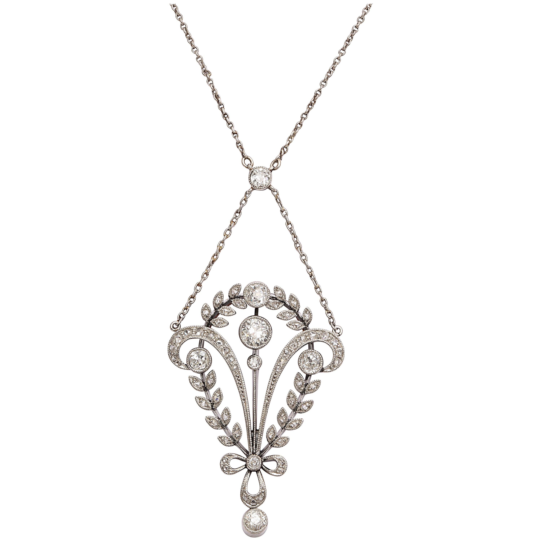 Antique Edwardian Diamond Gold Pendant Necklace