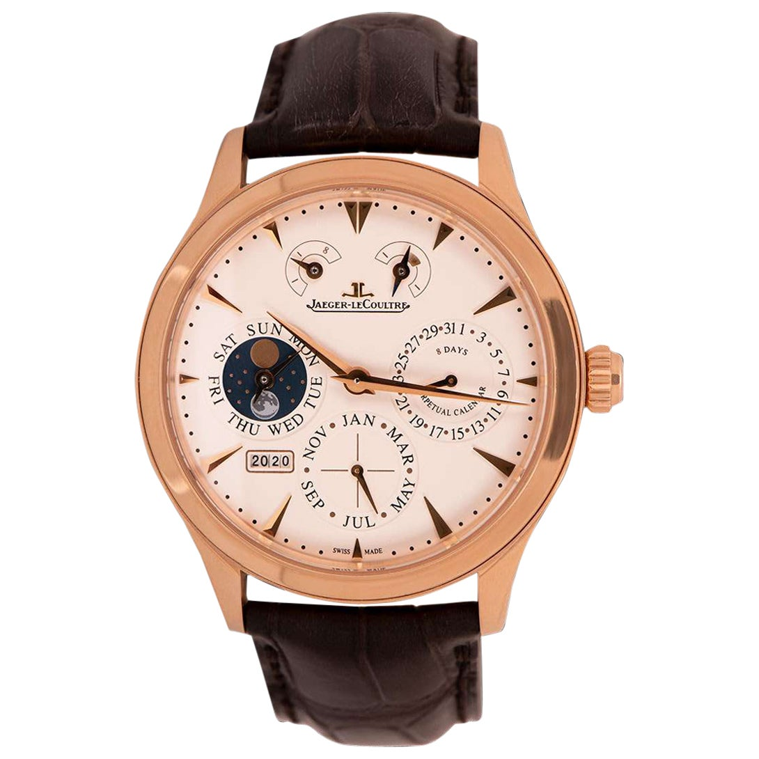 Jaeger-LeCoultre Master 8 Day Perpetual Gents 18 Karat Gold Silver Dial Q1612420