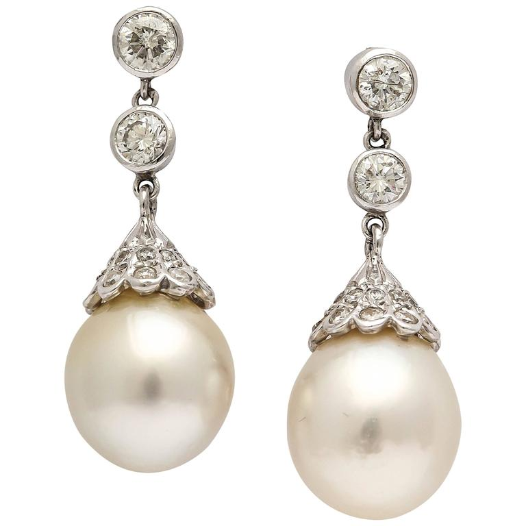 Exquisite Pearl & Diamond Drop Earrings