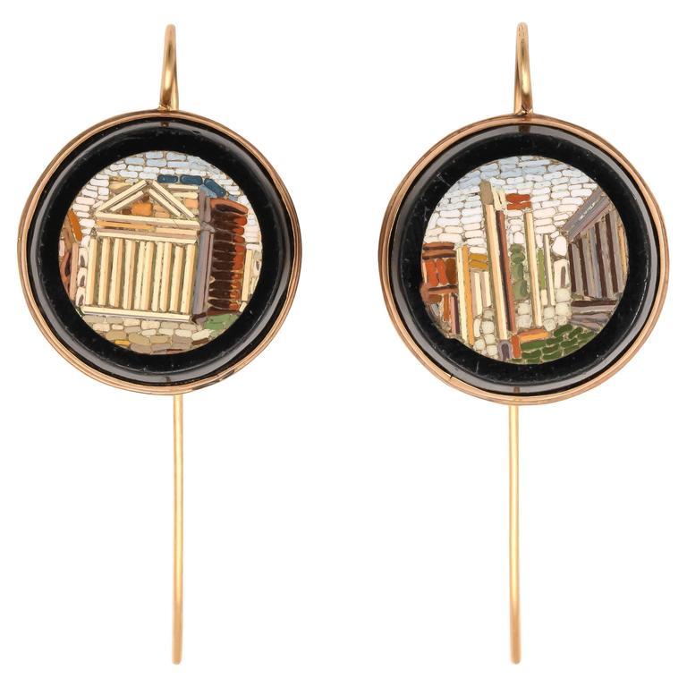 Fabulous Micro Mosaic Gold Dangle Earrings