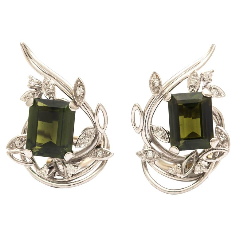 Emerald Cut Green Tourmaline Diamond Gold Earrings
