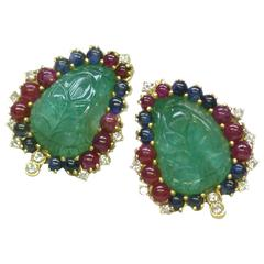 Carved Emerald Gemstone Gold Foliate Ear Clips