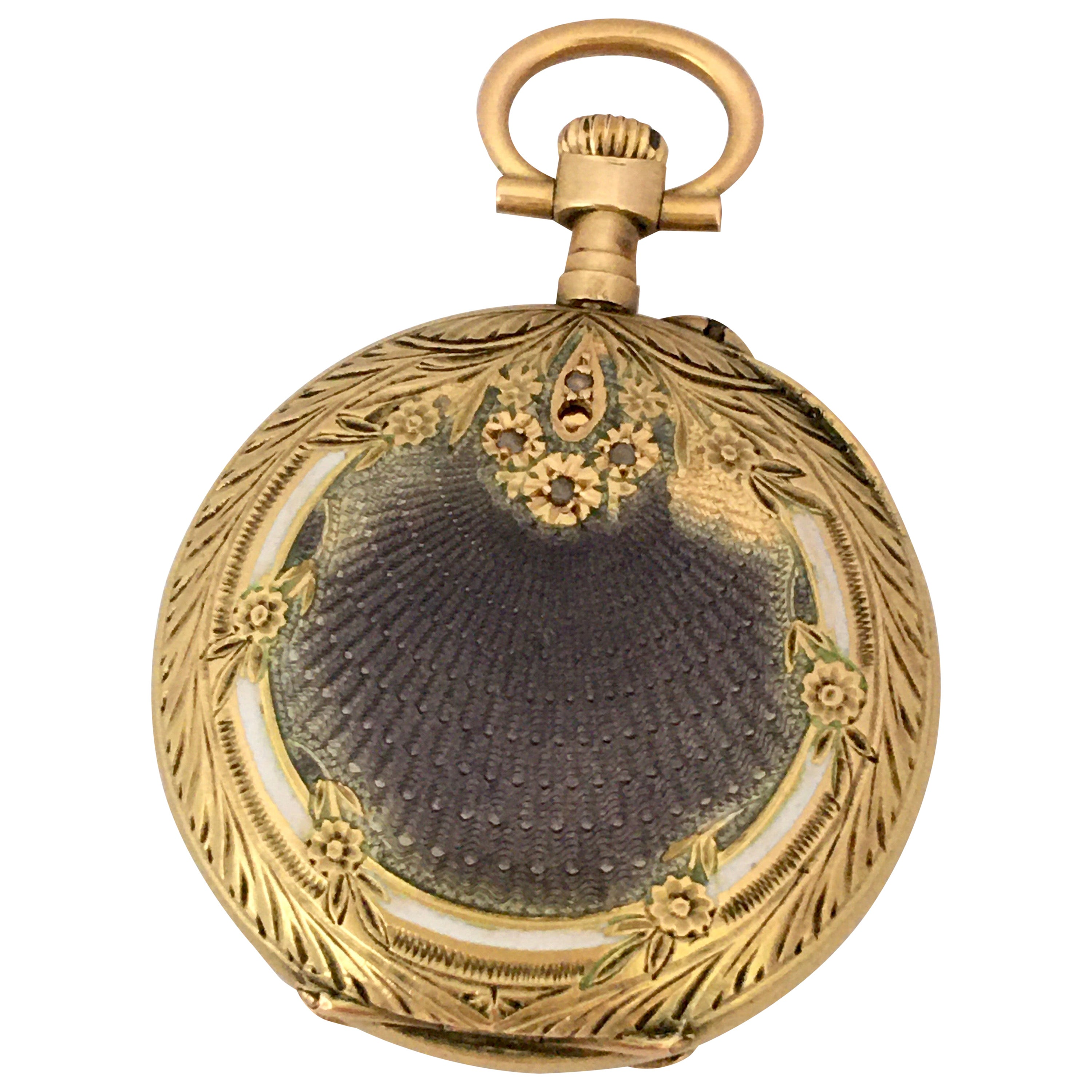 18 Karat Gold and Diamonds with Touched of Purple Enamel Fob / Pocket Watch