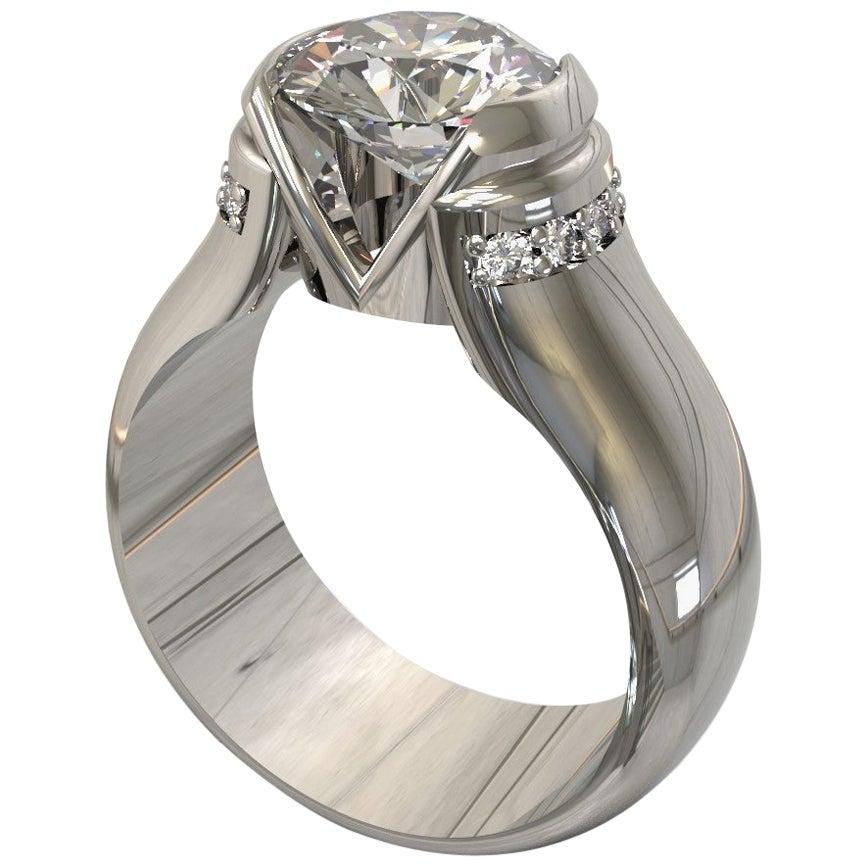 Kian Design Platinum 1.85 Carat GIA Round Brilliant Cut Diamond Engagement Ring