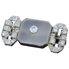 French Art Deco Rock Crystal Diamond Platinum Brooch