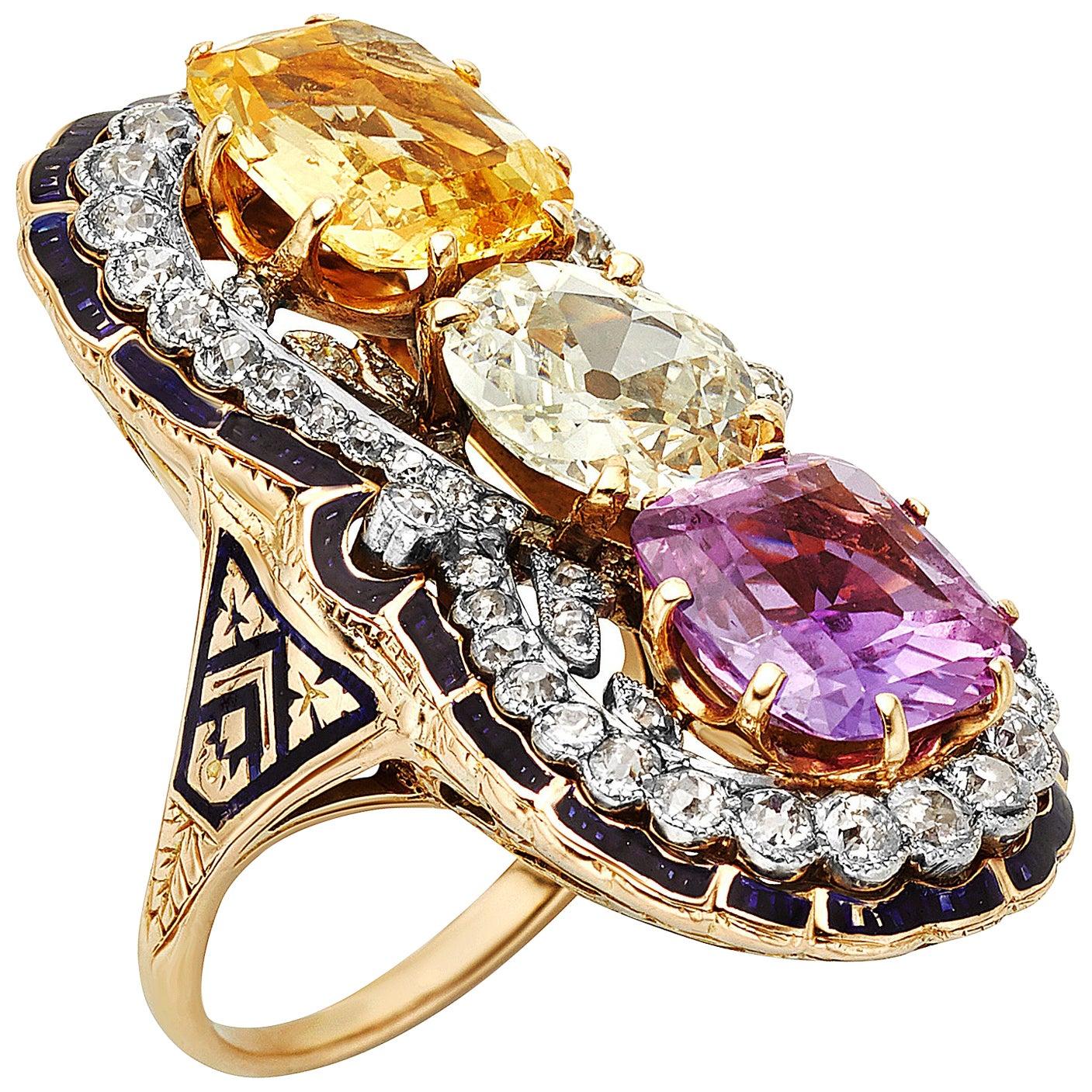 Victorian Three-Stone Sapphire and Diamond Ring