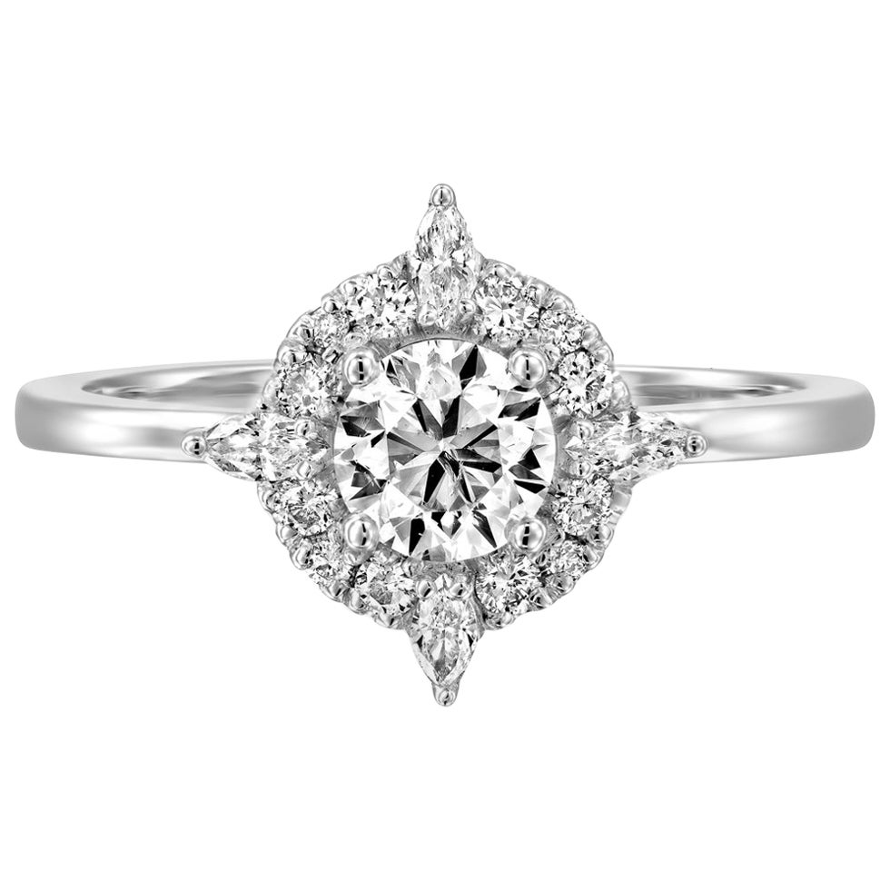 3/4 Carat GIA Diamond Engagement Ring, Vintage Halo 18 Karat White Gold Ring