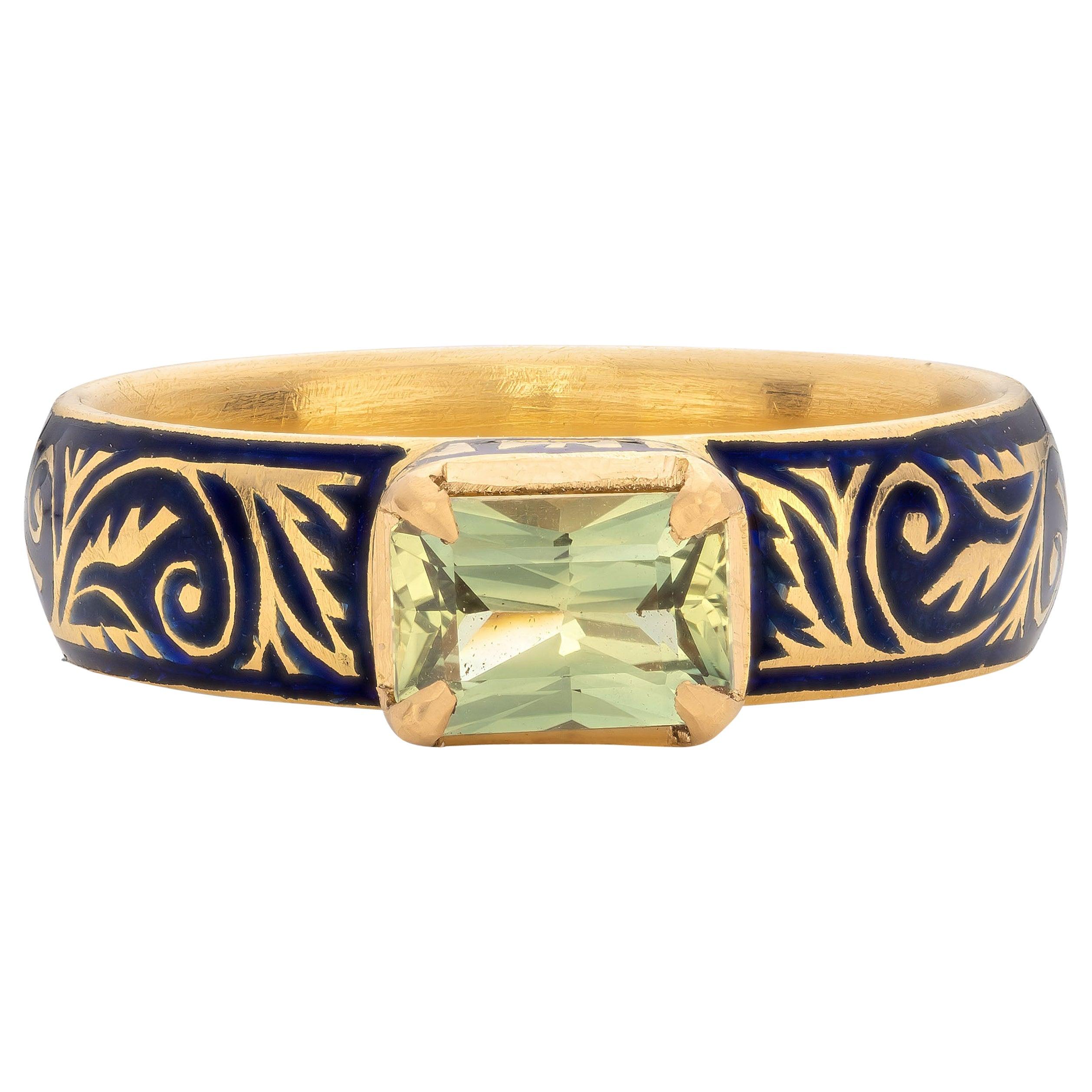 Patrika Ring with Australian Sapphire, 22 Karat Yellow Gold