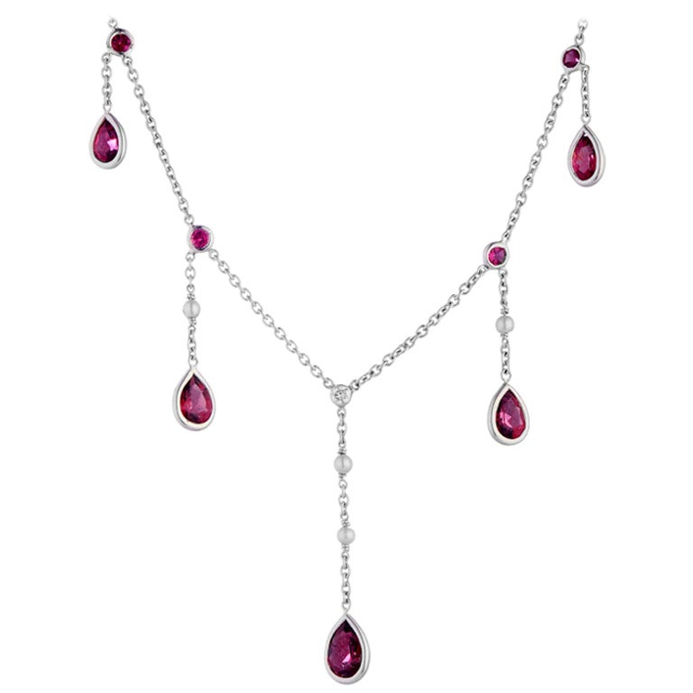 D&F 18 Karat White Gold Rubellite, Cultured Pearl and Diamond Drop Necklace
