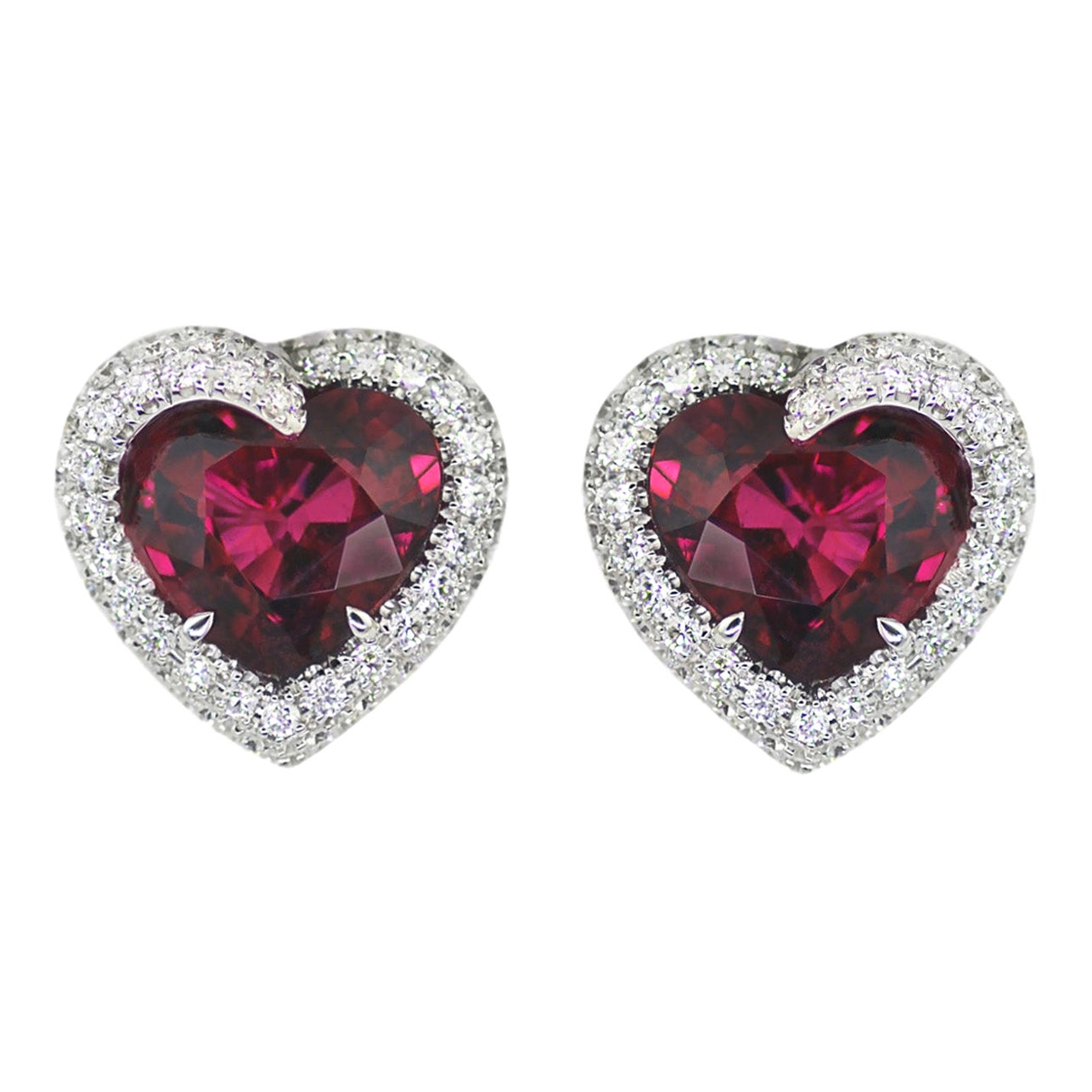 Diamond Heart Rubellite Tourmaline 18 KT White Gold Earrings Made in Italy