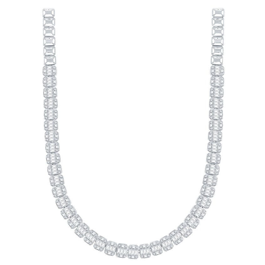 18 Karat Emerald Cut Diamond Necklace 9 Carat