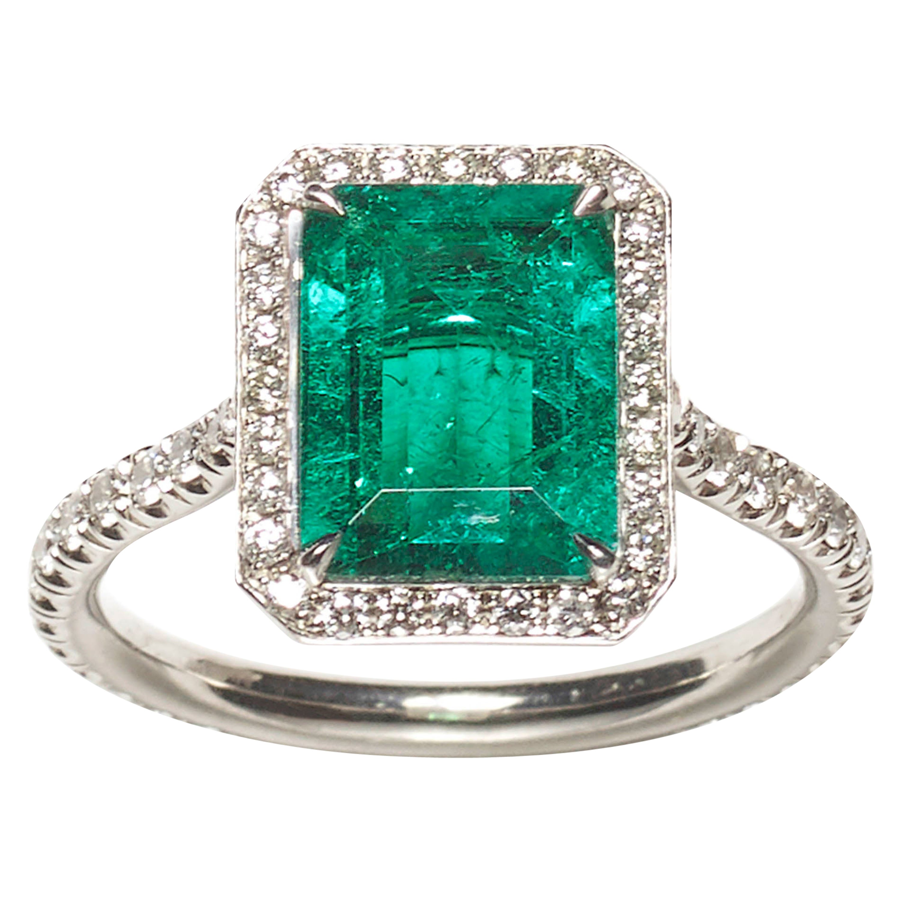 Modern Emerald Diamond and White Gold Ring, 2.03 Carat