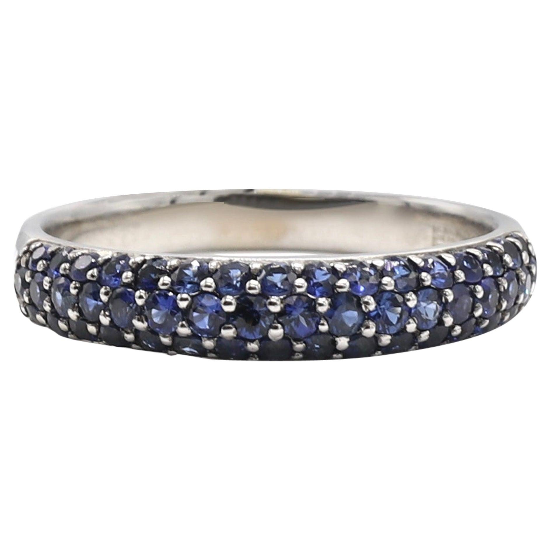 EFFY 14 Karat White Gold Pave Blue Sapphire 0.50 Carat Band Ring